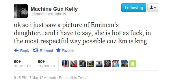 Le tweet ayant engendré le clash d'Eminem contre Machine Gun Kelly