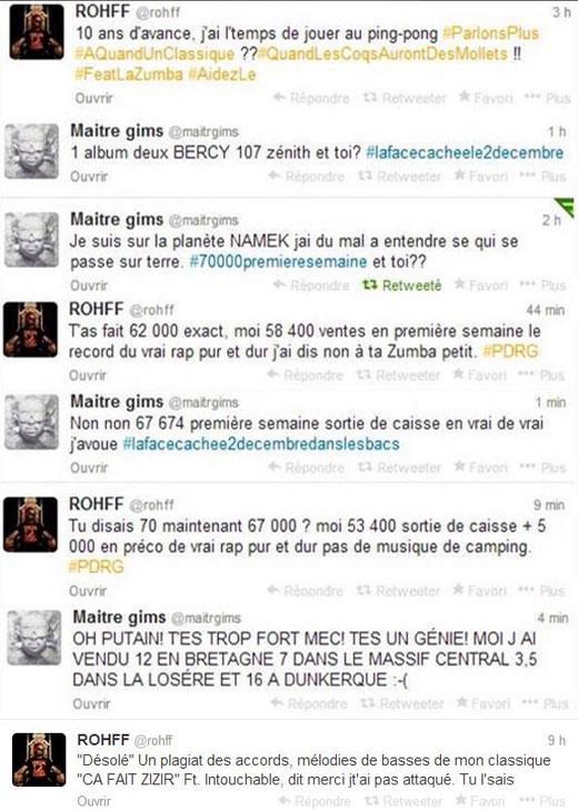 Rohff vs Gims Twitter