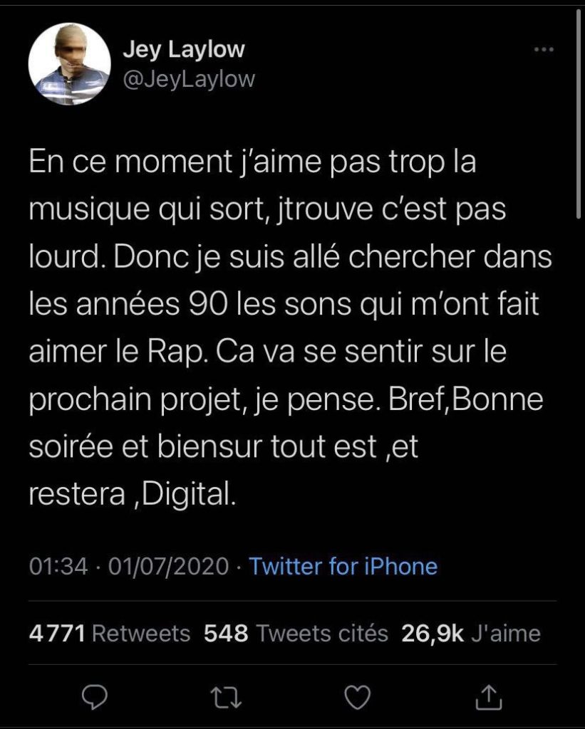 Tweet de Laylow sur la DA hip-hop de son album